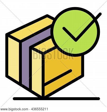 Checked Carton Box Icon. Outline Checked Carton Box Vector Icon Color Flat Isolated
