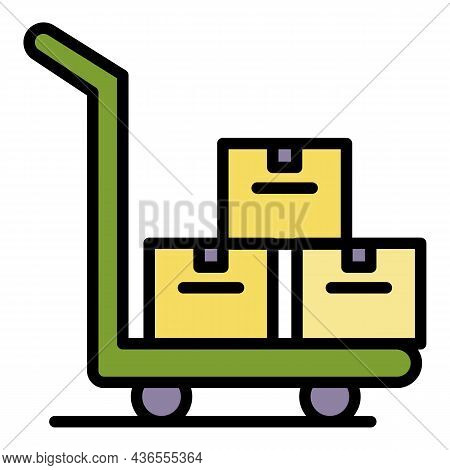 Parcel Cart Icon. Outline Parcel Cart Vector Icon Color Flat Isolated