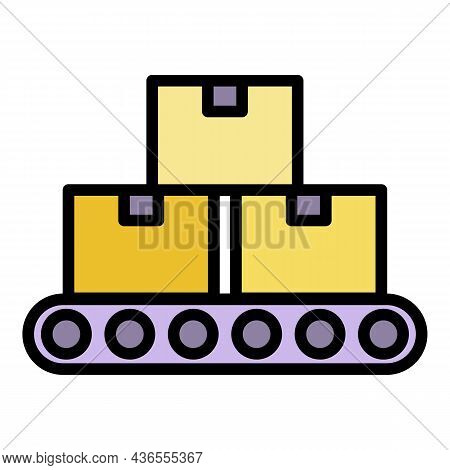Assembly Parcel Line Icon. Outline Assembly Parcel Line Vector Icon Color Flat Isolated
