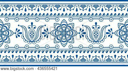 Floral Scandinavian Folk Art Outline Vector Seamless Long Pattern With Tulips And Border, Horizontal