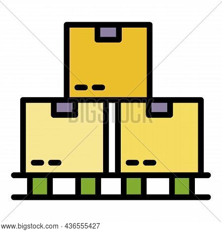 Shipping Parcel Icon. Outline Shipping Parcel Vector Icon Color Flat Isolated