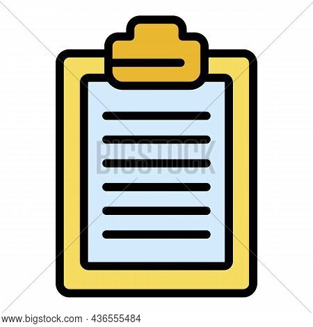 Inventory Clipboard Icon. Outline Inventory Clipboard Vector Icon Color Flat Isolated
