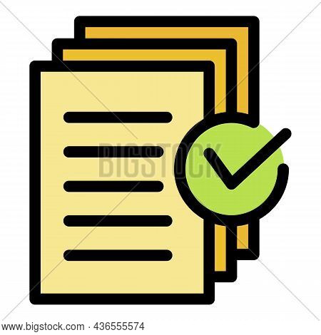Document Approved Request Icon. Outline Document Approved Request Vector Icon Color Flat Isolated