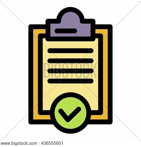 Approved Clipboard Icon. Outline Approved Clipboard Vector Icon Color Flat Isolated