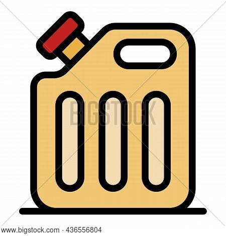 Plastic Fuel Canister Icon. Outline Plastic Fuel Canister Vector Icon Color Flat Isolated