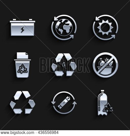 Set Recycle Symbol And Leaf, Battery With Recycle Line, Recycling Plastic Bottle, No Trash, Bin, Sol