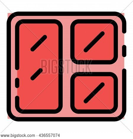 Lunch Plate Icon. Outline Lunch Plate Vector Icon Color Flat Isolated