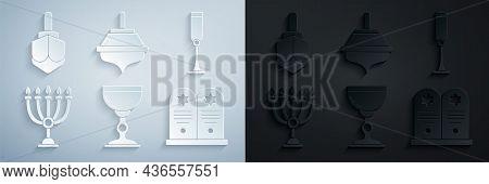 Set Jewish Goblet, Hanukkah Menorah, Tombstone With Star Of David, Dreidel And Icon. Vector