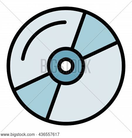 Music Cd Icon. Outline Music Cd Vector Icon Color Flat Isolated