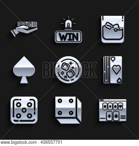 Set Glass Of Whiskey And Ice Cubes, Game Dice, Online Poker Table Game, Deck Playing Cards, Playing