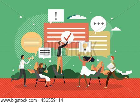 Business People With Dialogue Speech Bubbles, Vector Illustration. Discussion, Chat, Conversation.