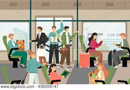 Passengers Traveling By City Bus, Flat Vector Illustration. Modern Public Transport. Daily Commute.