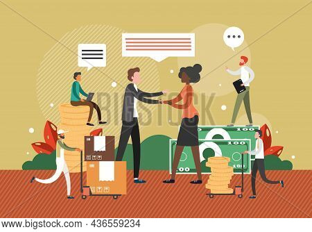 Business People Shaking Hands, Vector Illustration. Man And Woman Making Deal. Handshake. Successful