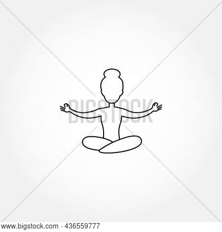 Lotus Position Line Icon. Lotus Position Isolated Line Icon