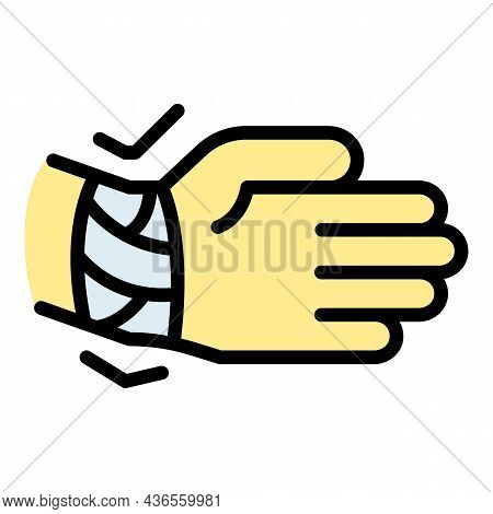 Wrist Plaster Icon. Outline Wrist Plaster Vector Icon Color Flat Isolated