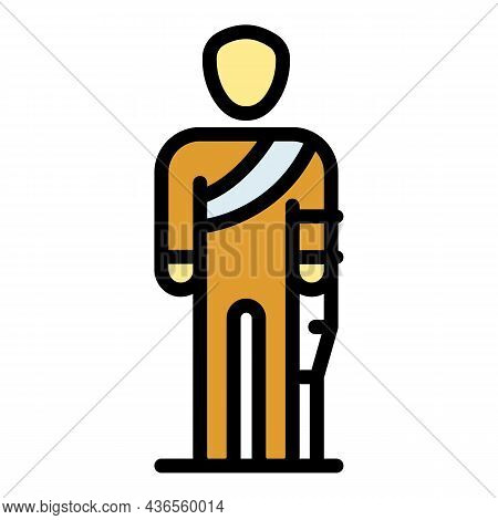 Sad Injury Man Icon. Outline Sad Injury Man Vector Icon Color Flat Isolated