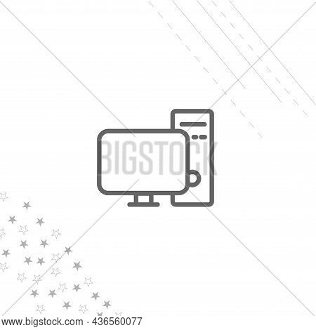 Computer Icon. Pc Isolated Line Icon For Web And Mobile