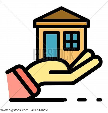 Hand Keep House Icon. Outline Hand Keep House Vector Icon Color Flat Isolated