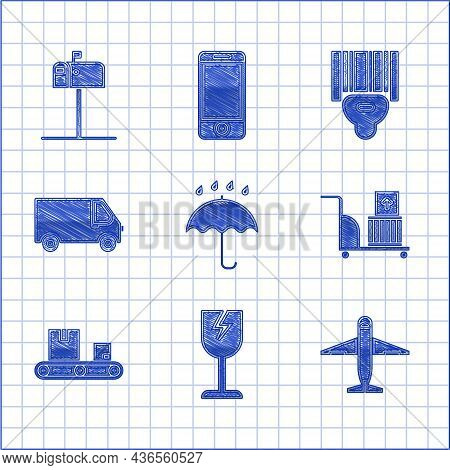 Set Umbrella And Rain Drops, Fragile Broken Glass Symbol, Plane, Electric Hand Truck Boxes, Conveyor