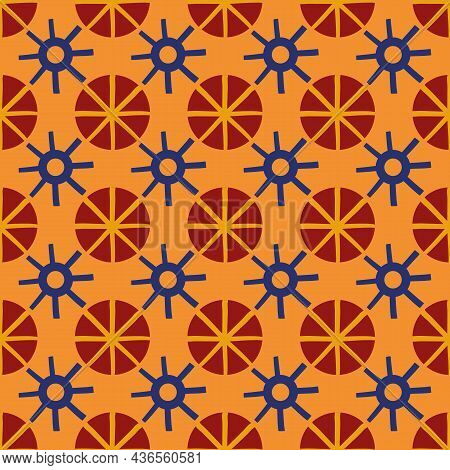 Abstract Stylized Sun And Star Shapes Seamless Vector Pattern Background. Azulejo Style Backdrop Wit