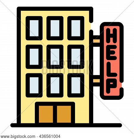 Homeless Shelter Help Icon. Outline Homeless Shelter Help Vector Icon Color Flat Isolated