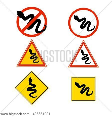 Set Of Warning Sign With Snake Isolated On White Background. Icon Collection Of Caution Attention Ve