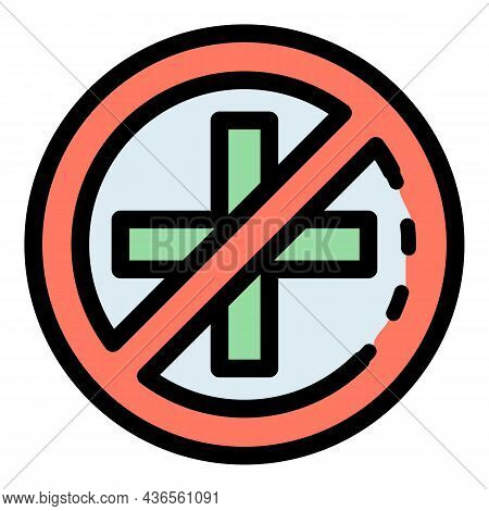 No Medical Help Icon. Outline No Medical Help Vector Icon Color Flat Isolated