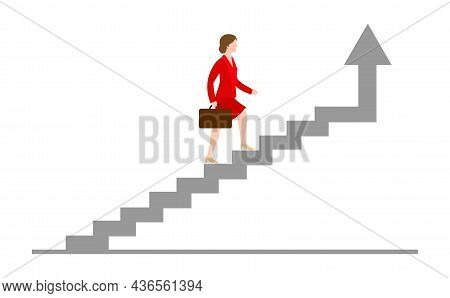 Businesswoman Rising Up The Stairs Of The Career. Growing Career Concept