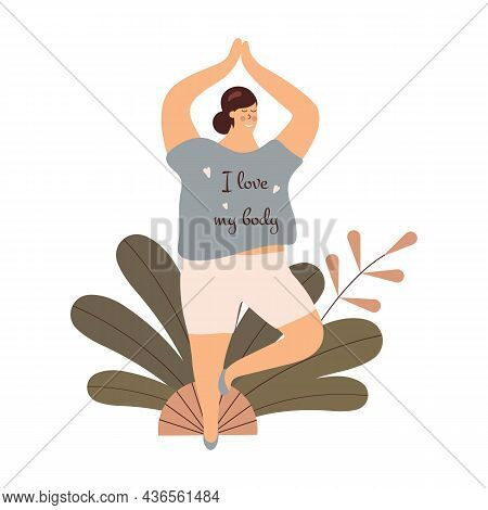 Body Positivity Cute Young Plump Girl With More Size-inclusive Body Do Yoga.plumpish Lady In Tree Po