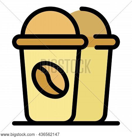Coffee To Go Cup Icon. Outline Coffee To Go Cup Vector Icon Color Flat Isolated