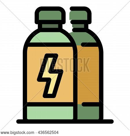 Power Energy Drink Icon. Outline Power Energy Drink Vector Icon Color Flat Isolated