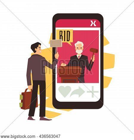 Online Auction Banner With Man Placing Bids, Flat Vector Illustration Isolated.
