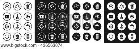 Set Tag With Leaf Symbol, Garbage Bag Recycle, Car Battery, Planet Earth And Recycling, Recharging,