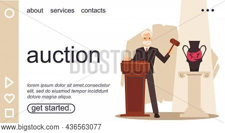 Auction Site With An Auctioneer Makes Announcement, Flat Vector Illustration.