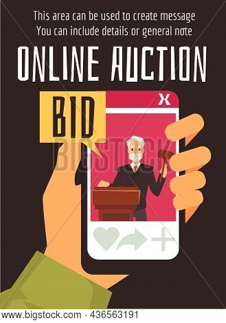 Online Auction Poster With Hand Holding Smartphone, Flat Vector Illustration.