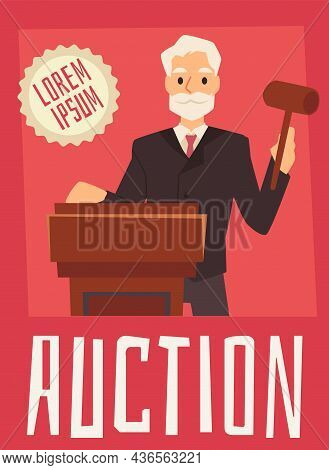 Auction Banner Or Poster Template With Auctioneer, Flat Vector Illustration.