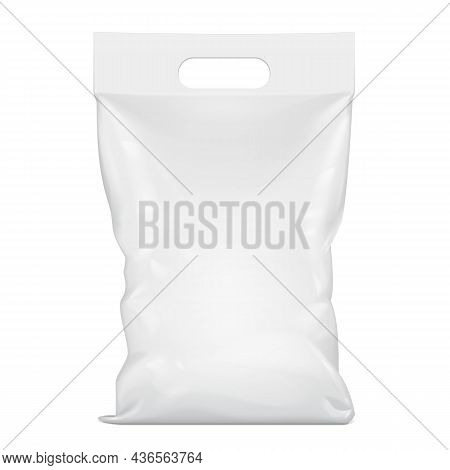 Mockup Blank Foil Or Paper Food Stand Up Pouch Snack Sachet Bag Packaging With Handle. Illustration