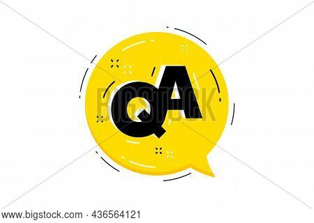 Qa Yellow Speech Bubble. Faq Questionnaire Chat Symbol. Question And Answer Message. Quality Support