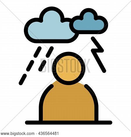 Storm Depression Man Icon. Outline Storm Depression Man Vector Icon Color Flat Isolated