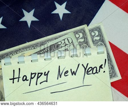 Happy New Fiscal 2022 Greeting Card Consisting Of 20 Dollars And 2 Dollars Against The Background Of