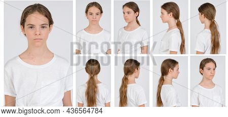 Young Girl In White T-shirt Model Snap All Looks Close Up On White Background