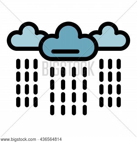 Rainy Clouds Depression Icon. Outline Rainy Clouds Depression Vector Icon Color Flat Isolated