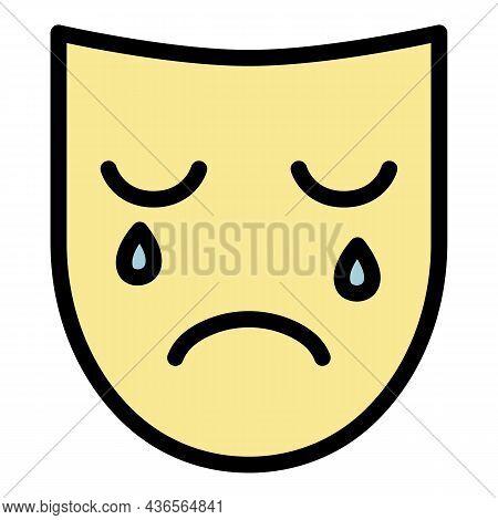 Sad Depression Mask Icon. Outline Sad Depression Mask Vector Icon Color Flat Isolated