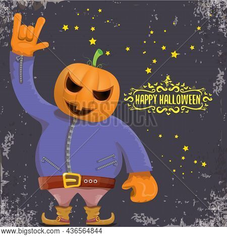 Vector Happy Halloween Creative Hipster Party Background. Man In Halloween Costume With Carved Pumpk