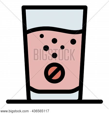 Aspirin Water Glass Icon. Outline Aspirin Water Glass Vector Icon Color Flat Isolated