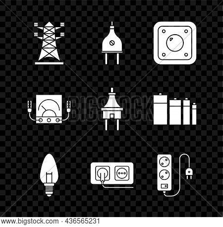 Set High Voltage Power Pole Line, Electric Plug, Light Switch, Light Bulb, Electrical Outlet, Extens