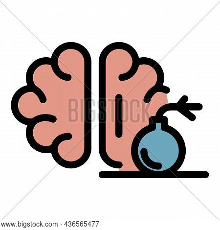 Brain Pain Bomb Icon. Outline Brain Pain Bomb Vector Icon Color Flat Isolated