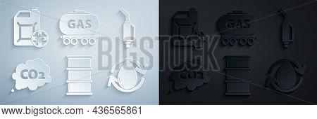 Set Barrel Oil, Gasoline Pump Nozzle, Co2 Emissions Cloud, Oil Drop, Railway Cistern And Antifreeze