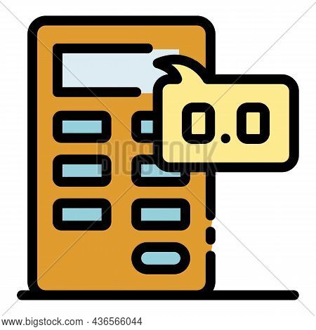 Fail Down Money Calculator Icon. Outline Fail Down Money Calculator Vector Icon Color Flat Isolated