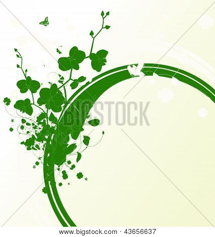 Green Banner With Orchids